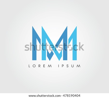 m m initial letter logo websites stock vector royalty free