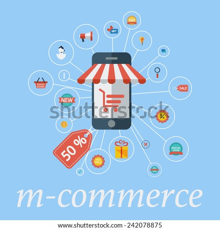 M-commerce. Color Flat design style. Vector illustration. - stock vector