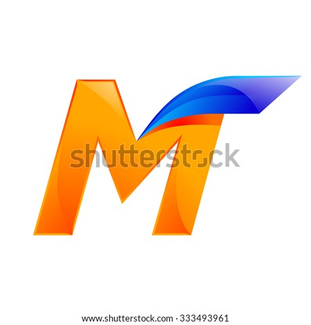 M letter blue and Orange logo design Fast speed design template elements for application. - stock vector