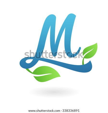 M letter business logo design template. Abstract calligraphic text vector elements for corporate identity emblem, label or icon of eco friendly company - stock vector