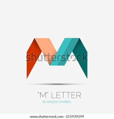 M letter icon, company logo, business symbol concept - stock vector