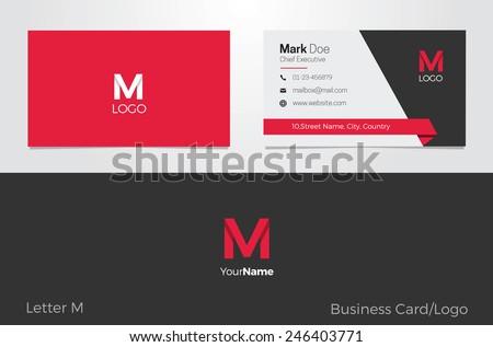 M Letter Logo Business card - stock vector