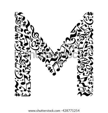 M Letter Made Musical Notes On Stock Vector 428771254 Shutterstock