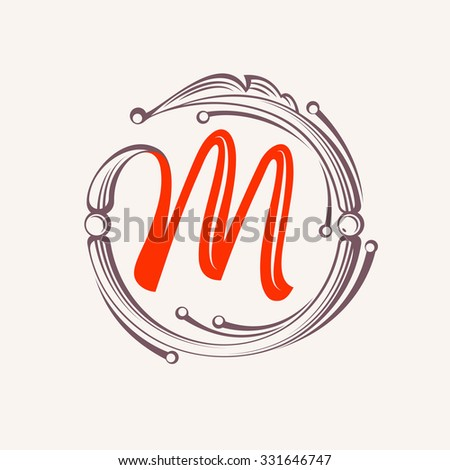 M Letter Monogram Design Elements Floral Vintage Style