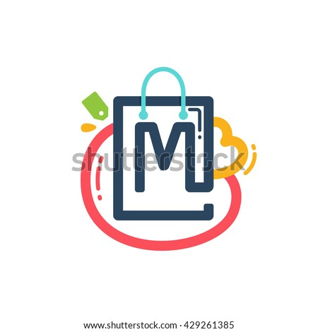 M letter with shopping bag and tag icon. Vector design element for tag, card, corporate identity, label or poster. - stock vector
