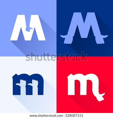 M letter with thumb up set. Vector logo design template elements for your application or corporate identity. - stock vector