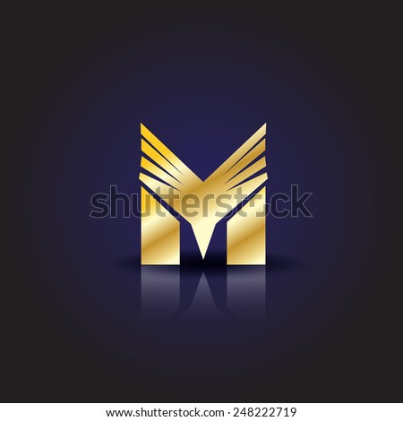 M Lettering - Isolated On Blue Background - Vector Illustration, Graphic Design, Editable For Your Design - stock vector
