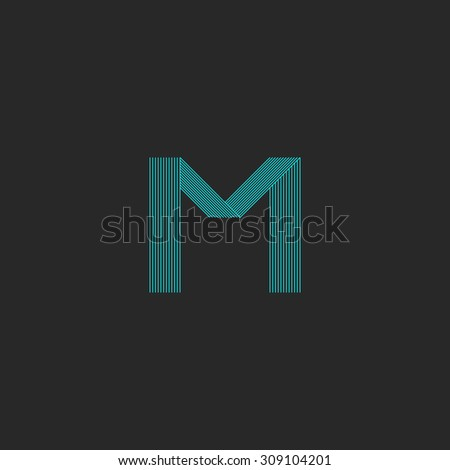 M logo letter, blue thin many lines minimal template, mockup black business card - stock vector