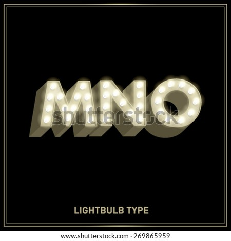 m,n,o lightbulb typeface/font vector/illustration - stock vector