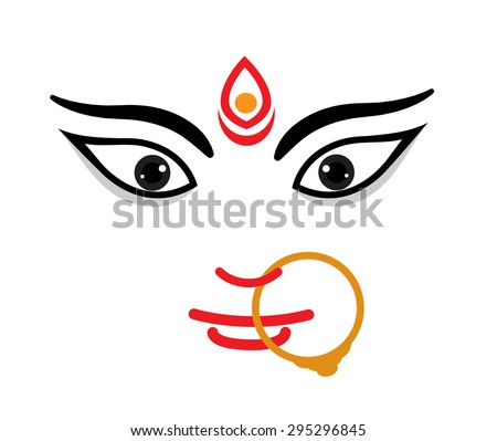 Maa Durga Face Expression - Mythological Hindu Goddess - stock vector