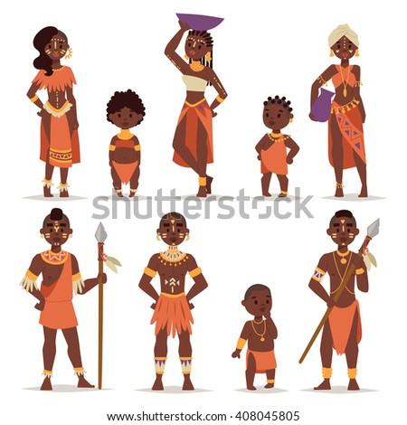 Maasai couple african people in traditional clothing happy person families vector illustration. African people family and american adult african people. African people ethnic men, women and childrens. - stock vector
