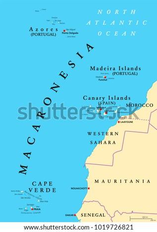 Macaronesia Political Map Azores Cape Verde Stock Vector HD Royalty