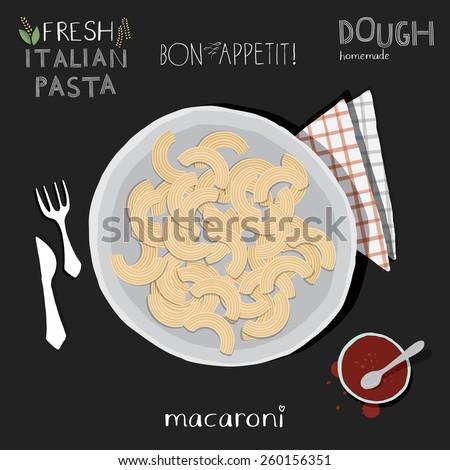 Macaroni in plate, italian pasta. - stock vector