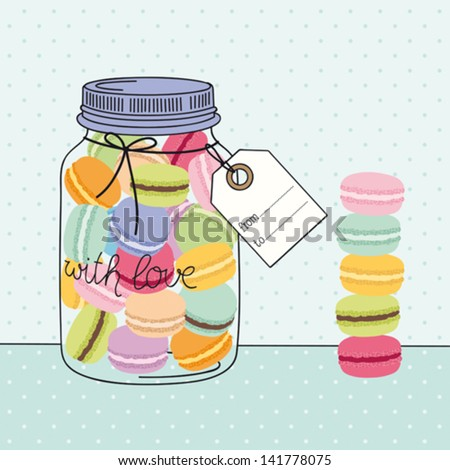 Macaroons glass jar