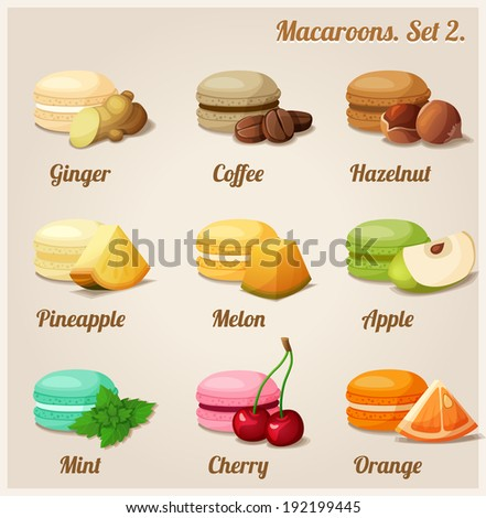 Macaroons with different flavors and fillings. Set 2. - stock vector