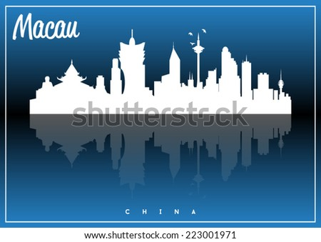 Macau, China, skyline silhouette vector design on parliament blue and black background.  - stock vector