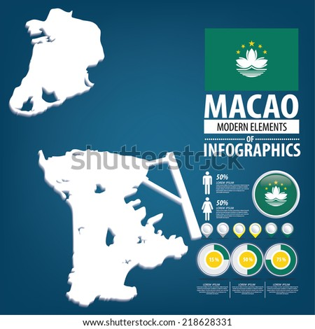 Macau. Macao Special Administrative Region of the People's Republic of China. flag. Asia. World Map. vector Illustration. - stock vector