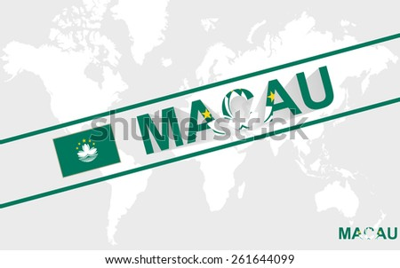 Macau map flag and text illustration, on world map - stock vector