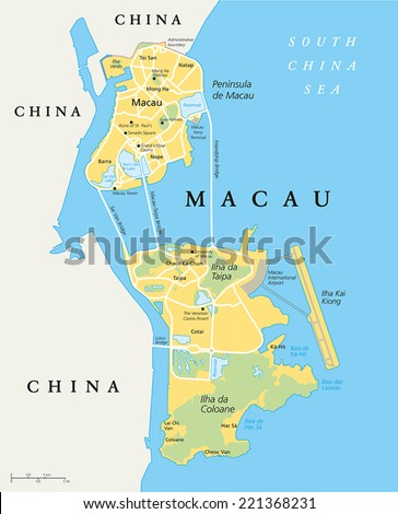 Macau Political Map. Special Administrative Region of the People's Republic of China and the world's largest gambling centre. English labeling and scaling. Illustration. - stock vector