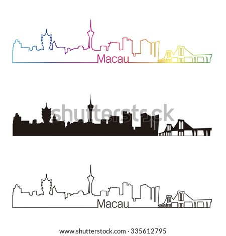 Macau skyline linear style with rainbow in editable vector file - stock vector