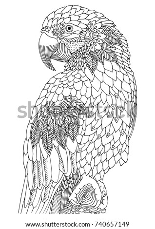 Coloring Pages For Adults Bird. Sketch for anti stress adult coloring book in zen Adult Coloring Pages Stock Images  Royalty Free Vectors