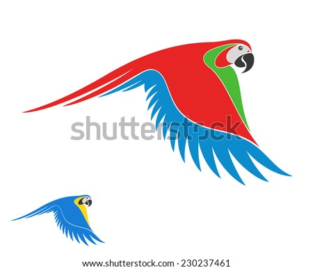 Macaw Parrot. Isolated bird on white background - stock vector