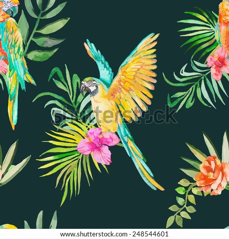 Macaw seamless pattern. Palm leaves and tropical flower and camellias. Black background.Tropical parrot. Exotic. Vector for your design.