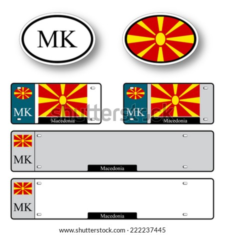 macedonia auto set against white background, abstract vector art illustration, image contains transparency - stock vector