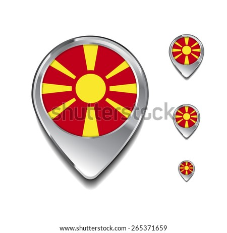 Macedonia flag map pointer. 3d Map Pointer with flag glossy button style on gray background - stock vector