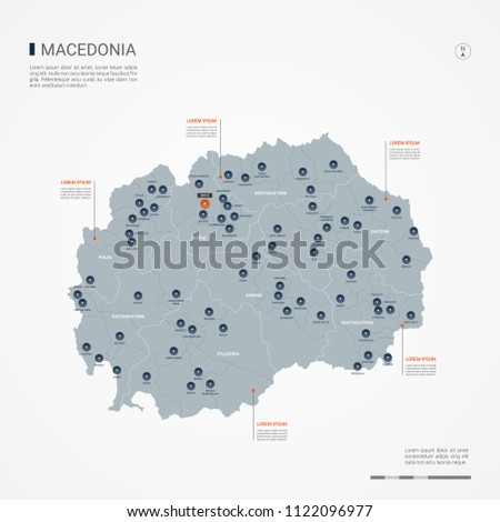 Macedonia map borders cities capital skopje stock vector 1122096977 macedonia map with borders cities capital skopje and administrative divisions infographic vector map publicscrutiny Choice Image