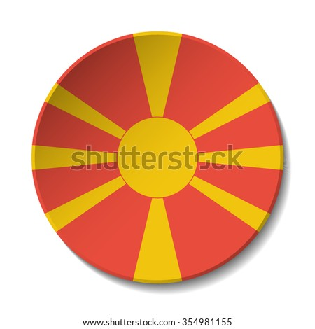 Macedonia (the former Yugoslav Republic of) Flag Button. Vector icon flag of Macedonia (the former Yugoslav Republic of) on white background. Paper cut style country flag.