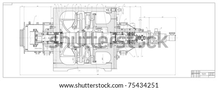 Machine-building drawing. Superchanger. Vector illustration - stock vector