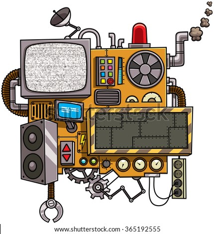 Machine: Fictional cartoon machine with copy space isolated over white background. - stock vector