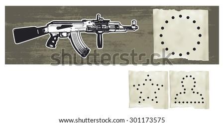 machine gun with silhouettes shots - stock vector