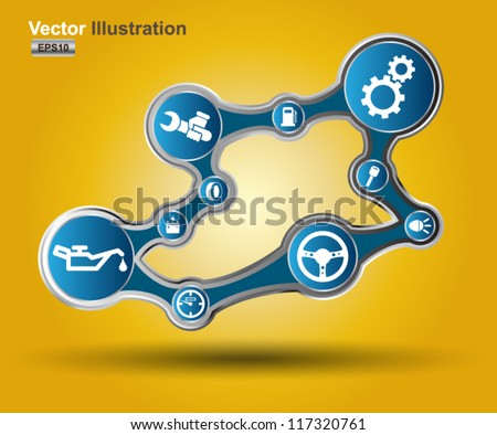 Machine icon set 3D - stock vector