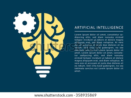 Machine learning and artificial intelligence concept with brain and light bulb icon and text as template. - stock vector