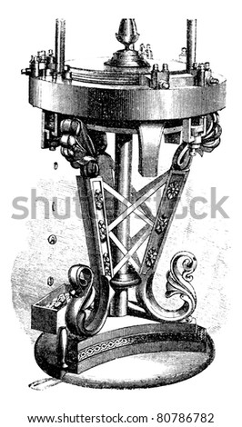 Machine reel, vintage engraved illustration. Trousset encyclopedia (1886 - 1891).
