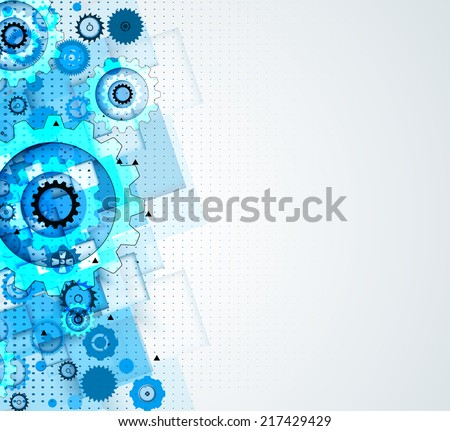 machine technology gears. retro gearwheel mechanism abstract bacground - stock vector