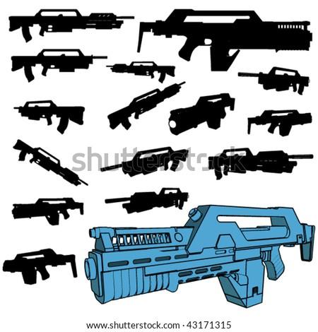 machinegun silhouette set - stock vector