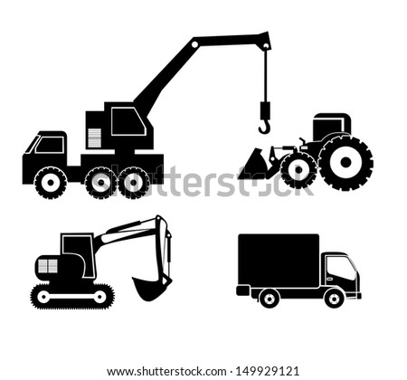machinery icons over white background vector illustration - stock vector