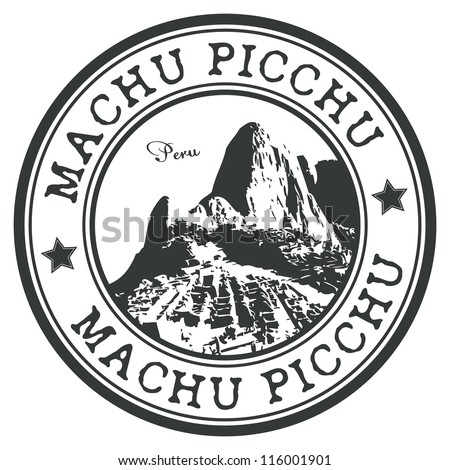 Machu Picchu stamp - stock vector
