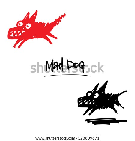 Mad Dog angry animal pet cartoon ink drawing - stock vector