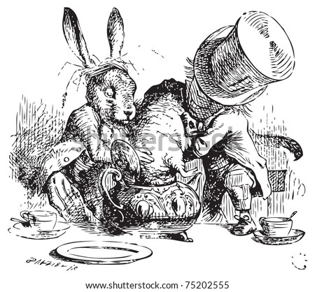 Mad Hatter and March Hare dunking the Dormouse. ...the last time she saw them, they were trying to put the Dormouse into the teapot. Alice's Adventures in Wonderland original vintage illustration. - stock vector