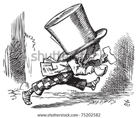 Mad Hatter just as hastily leaves - Alice's adventures in Wonderland original vintage engraving. The Mad Hatter runs out of court in his socks, carrying sandwich and (bitten) teacup. - stock vector