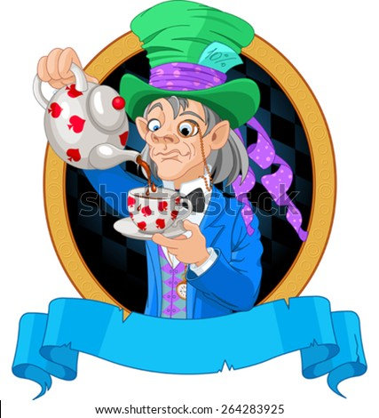 Mad Hatter pours tea design - stock vector