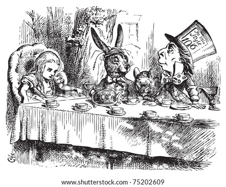 Mad Hatter?s Tea Party, Alice in Wonderland original vintage engraving. Tea party with the Mad Hatter, Dormouse and the White Rabbit. Alice's Adventures in Wonderland. Illustration from John Tenniel - stock vector