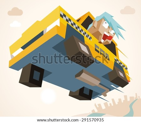 mad taxi in rush. vector illustration - stock vector