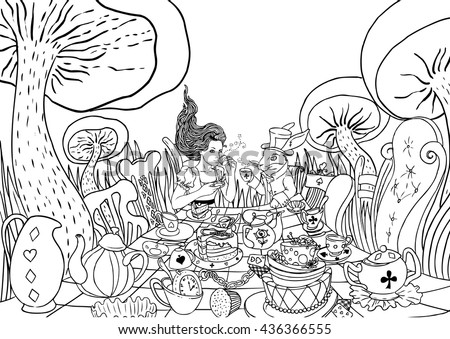 Mad Tea Party. Alice's Adventures in Wonderland illustration. Girl, white rabbit drink from cups under giant mushrooms. Design for Wonderland party  invitation, postcard. Coloring book for adult page.