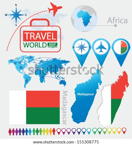 Madagascar. flag. World Map. Travel vector Illustration.