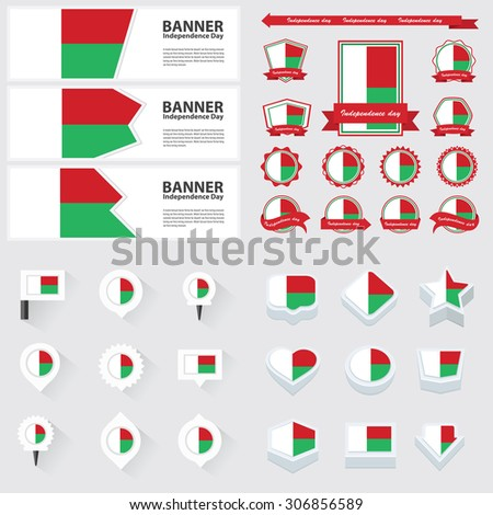 madagascar independence day, infographic, and label Set.